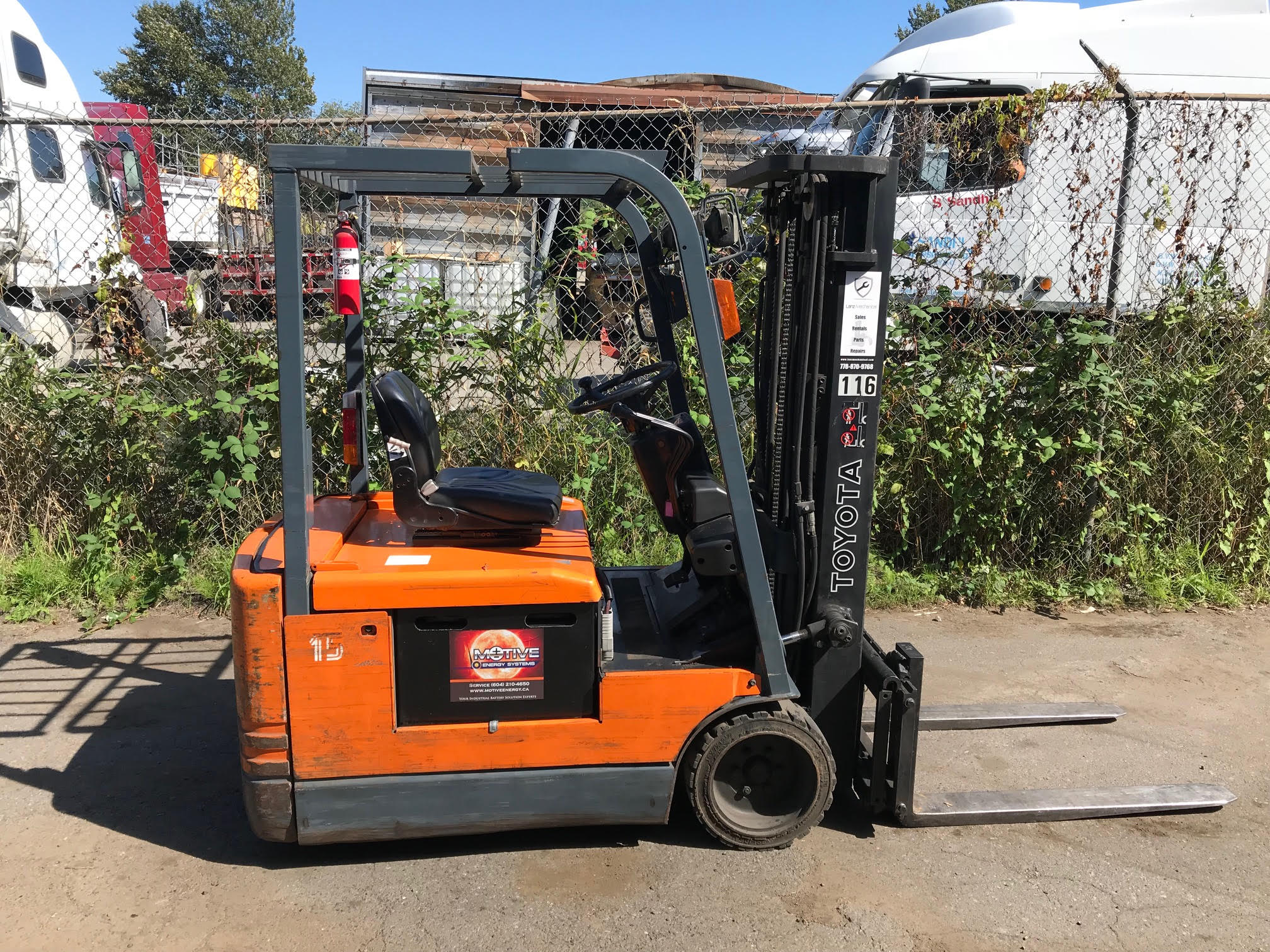 TOYOTA 48V ELECTRIC 3-WHEEL FORKLIFT (3,000 LB Capacity)